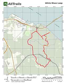 Map of white blaze loop at bayard conservation area