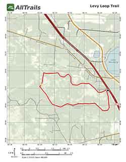 Hiking Trail Map, Levy Loop at Barr Hammock Preserve