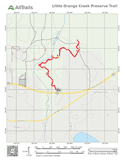 Trail Map of Little Orange Creek Reserve, Kathy Cantwell Trail