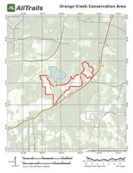 Trail map for Orange Creek Conservation Area, South Tract