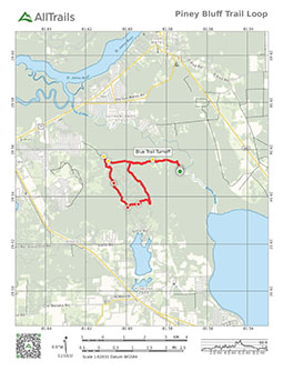 PDF Trail map of piney bluff blue horse trail at Dunn's Creek State Park