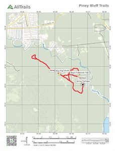 Trail map of Piney Bluff Trails at Dunn's Creek State Forest