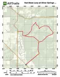 Map of red blaze trail at silver springs state forest conservation area