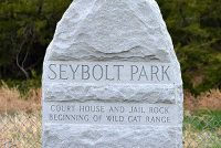 Stone Marker at Seybolt Park Announces Courthouse and Jail Rock