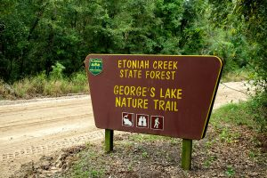 Entry sign at George's Lake Trail at Etoniah Creek State Forest