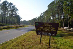 Sign on Fl CR 309 for Johns Landing Trail, Welaka State Forest